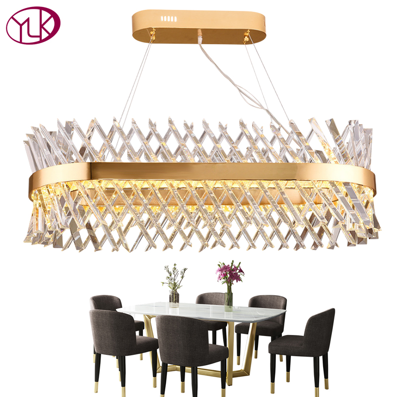 Youlaike Oval Modern Gold Chandelier Lighting Luxury Dining Room Crystal Light Fixture AC110-240V LED Lustres De Cristal new original dvp04ad h2 plc analog module eh2 series 24vdc 4ai