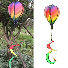 1Pc Rainbow Stripe Windsock Hot Air Balloon Wind Spinner Outdoor Kids Toy Drop shipping
