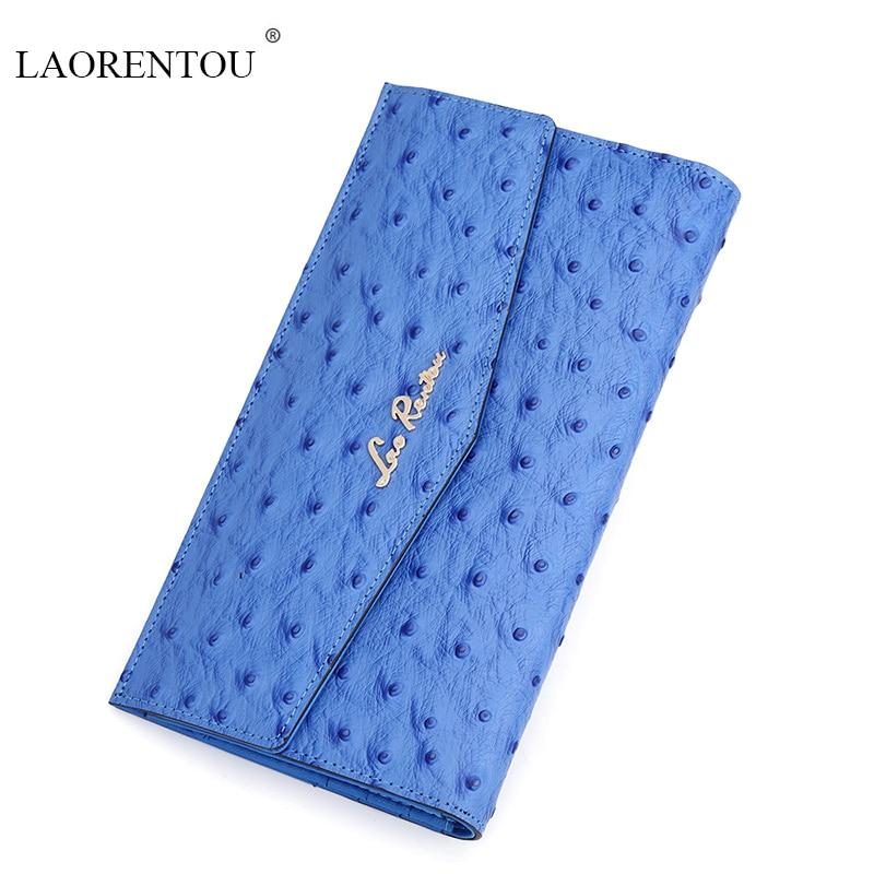 ФОТО LAORENTOU women 2016 High Quality fashion three colors clutch purse brand designer Ostrich pattern Wallet ladies long  Wallets