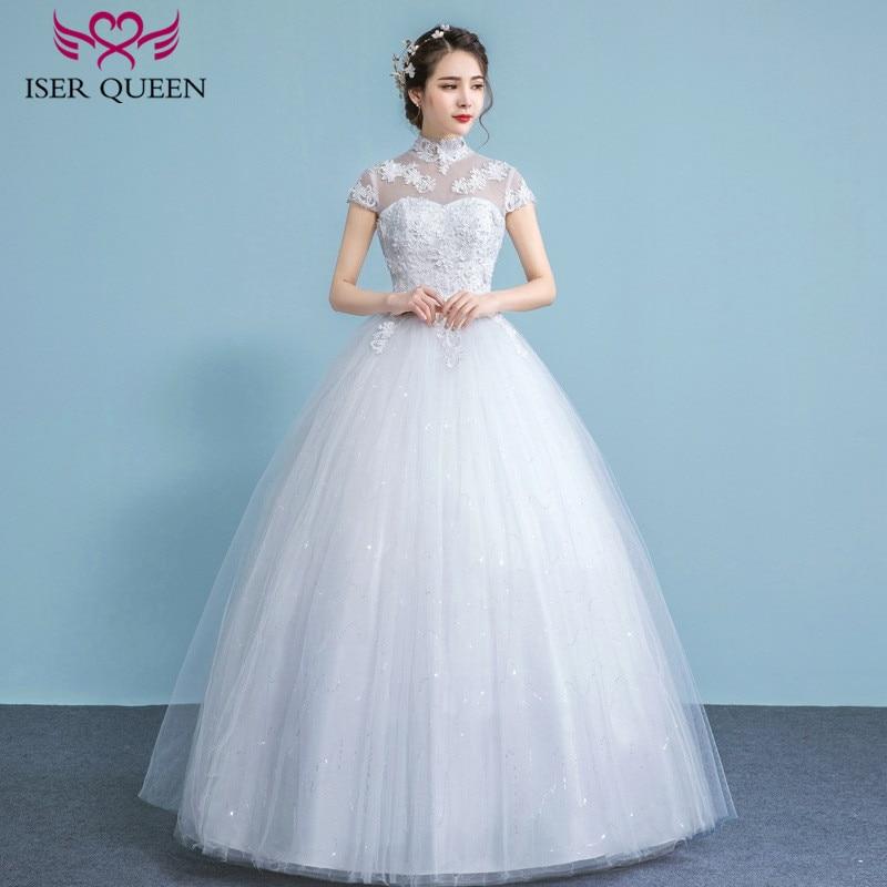 Sheer Neck Arabic Wedding Dress Short Sleeve High Collar Hollow Back ...