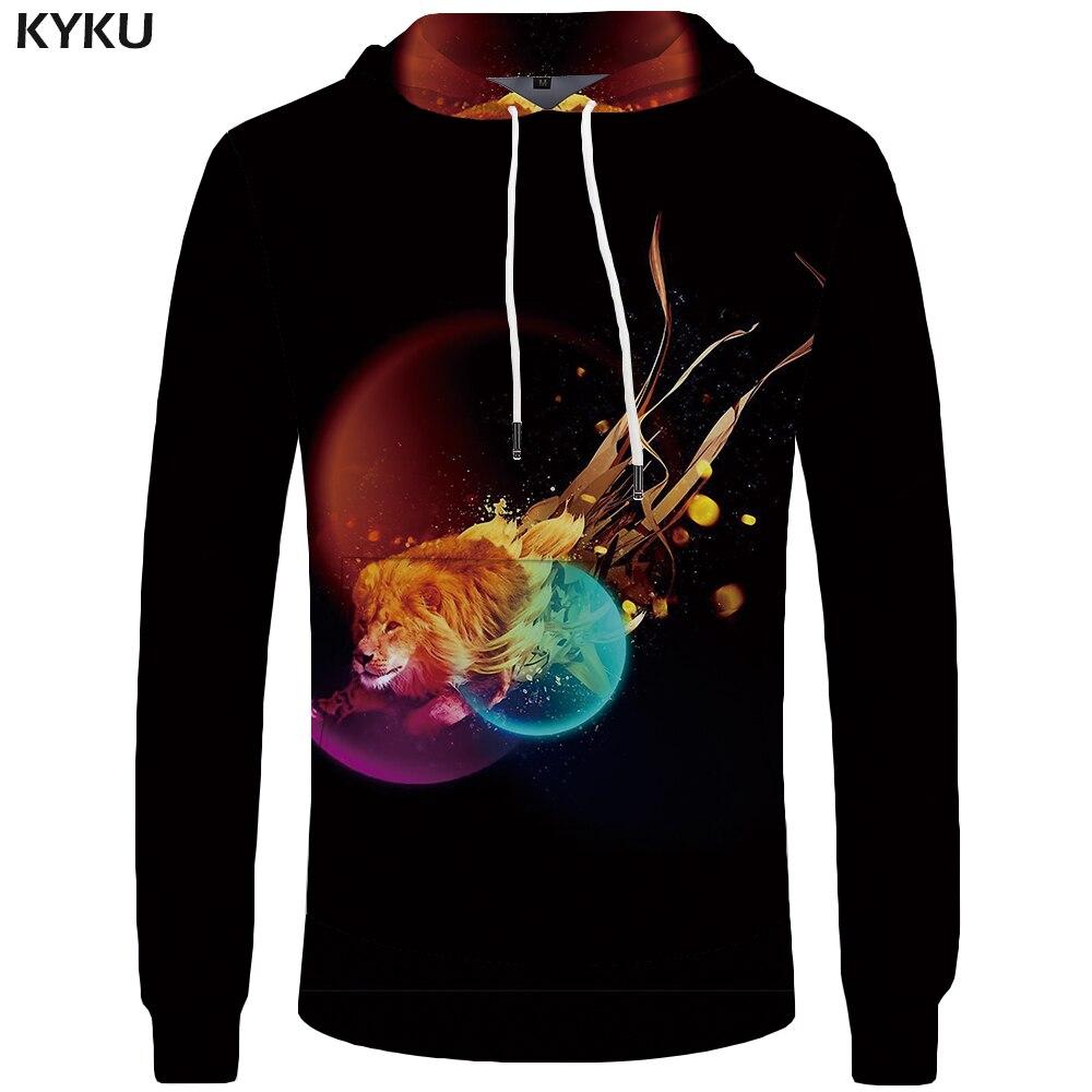 KYKU Brand Lion Hoodies Men Black Mens Clothing Planet Hoddie Animal Sweatshirts Pocket Big Size Hooded 3d Hoodies Sweat shirt
