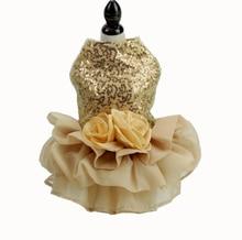 Biling Dog Dress Tutu Skirt Flower Pet Cat Luxury Princess Wedding Summer Chihuahua Clothes