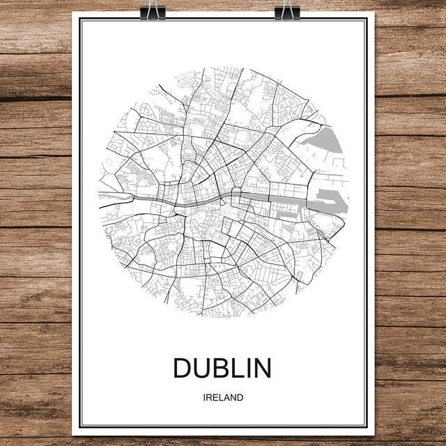 Dublin ireland famous world city street map print poster abstract coated paper cafe living room home