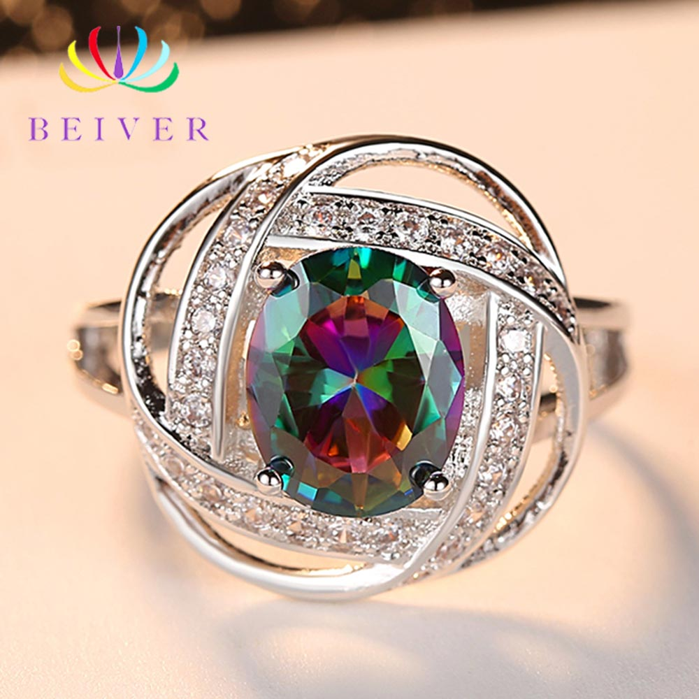 Beiver 2019 New Arrival White Gold Rainbow Round Zircon Promise Wedding Clover Rings for Women Party Jewelry Ladies Gift R583W-C