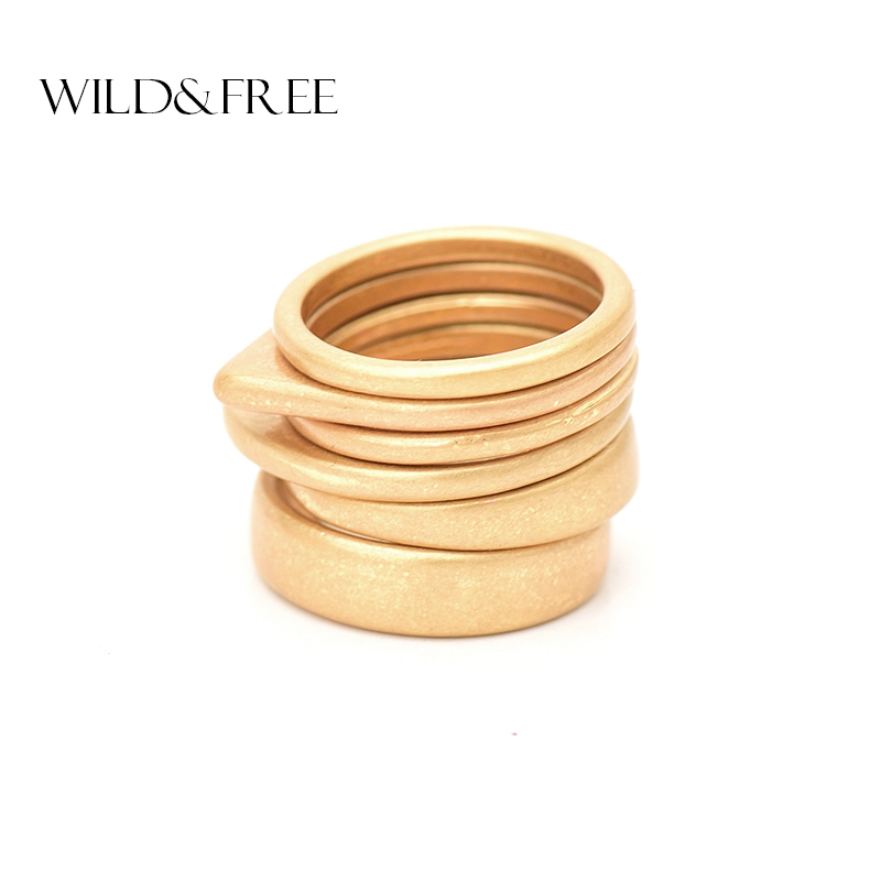 Wild & Free Hot 6pcs Vintage Gold Ring Set For Women Fashion Geometric Plain Knuckle Ring Stackable Rings Jewelry Christmas Gift
