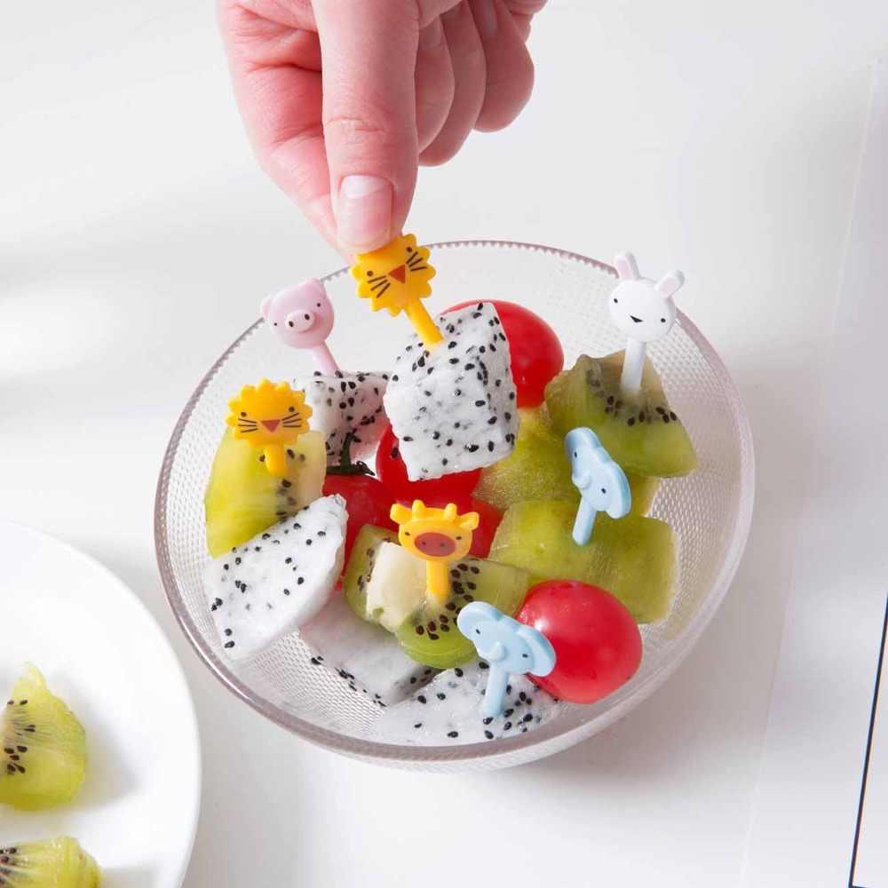10pcs Mini Animal Fruit Fork Creative Plastic Easy Decoration Kitchen Bar  Kid Dessert Forks Stick Eco Friendly Party Decor