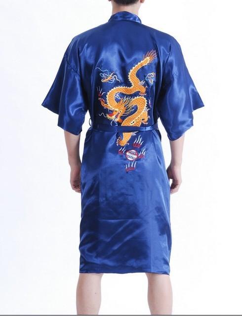 New Arrival Navy Blue Male Silk Robe Chinese Classic Embroidery Night Wear Traditional Kimono Gown Size S M L XL XXL XXXL MR038