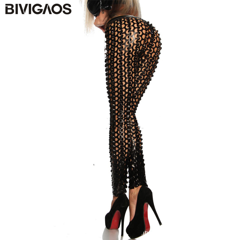 BIVIGAOS Fashion Women's Gothic Punk Rock Metal Bright Pierced Scales Hole Ripped PU Leather Elastic Sexy Leggings Stretch Pants