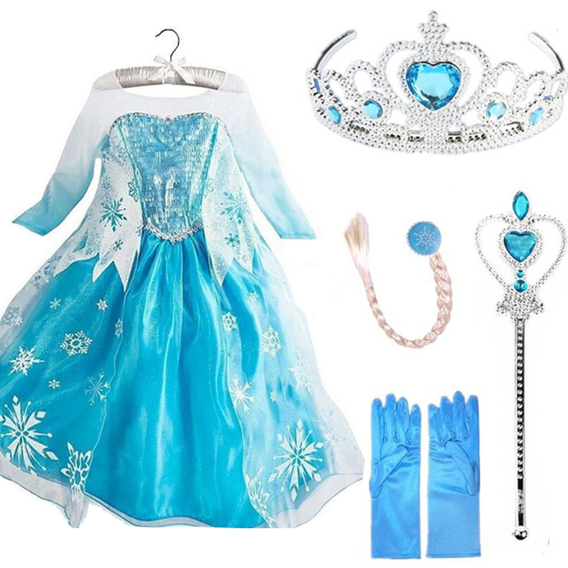 Elsa Clothes Elsa Costumes Costume For Women Snow Queen Princess Elza Anna Cosplay Birthday Children Women Clothes Elsa Social gathering Set