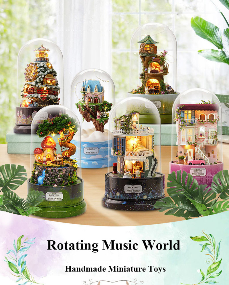 DIY Dollhouse Rotate Music Box Miniature Assemble Kits Doll House With Furnitures Wooden House Toys for Children Birthday Gift (1)
