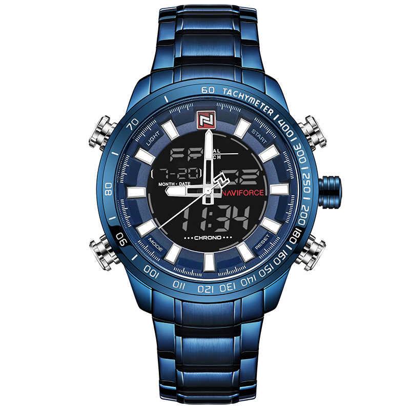 2018 Pria Jam Tangan Mewah Merek Naviforce Tentara Militer Sport Watch Pria Penuh Baja Kuarsa Digital Analog Clock Relogio Masculino