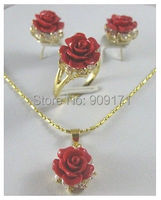 Free Shipping Pretty Crystal Red Coral Rose Flower Pendant Earring Ring Lady S Set
