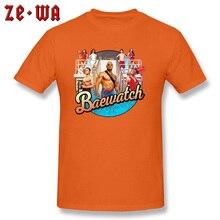 цена Brand New Arrival Orange Color T Shirts Design Baywatch Movie Print T-Shirt Hawaii Beach Sex Surfer TuttiKiwi Bikini Tshirt Men онлайн в 2017 году