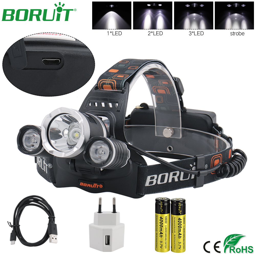 BORUiT XML L2 LED Headlamp Flashlight Rechargeable Headlight Portable Camping Hunting Fishing Head Torch Light by 18650 Battery