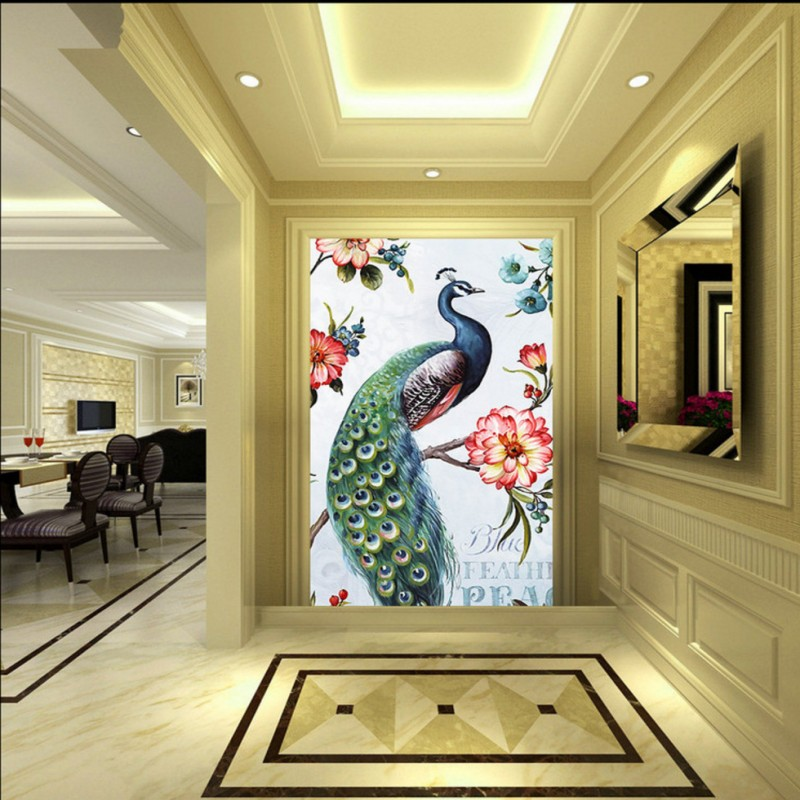 Custom photo wallpaper 3D stereo wallpaper European flower peacock oil painting entrance wallpaper lobby studio bedroom mural free shipping 3d stereo entrance hallway custom wallpaper vertical version european oil painting wallpaper mural