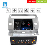 Besina 1 din 7 Inch Android 6.0 Car DVD Player For Citroen C4 Multimedia GPS Navigation Quad Core Car Radio GPS Navigation WIFI