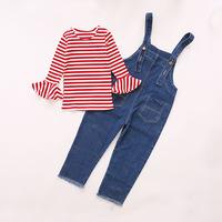 2017 spring autumn new arrival girl sweet overall sets butterfly sleeve striped t shirt Denim Bib pants suit American style