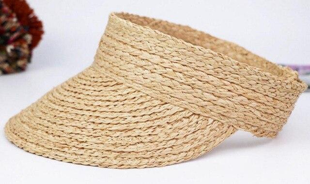 1def3c7f49f 6pcs Foldable Nature Sun Raffia Straw Visors Cheap Women Summer Straw Visor  Pink Beach Caps Lady Grey Handmade Natural Sun Hats