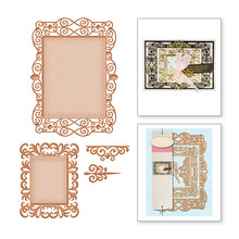 Naifumodo Lace Frame Metal Cutting Dies Scrapbooking for Card Making DIY Embossing Cuts Dies Craft Die Square Pattern New 2019 square board with small grove pattern cutting die