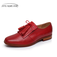 Genuine leather woman size 9 designer yinzo vintage flat shoes round toe handmade red beige oxford shoes for women 2017