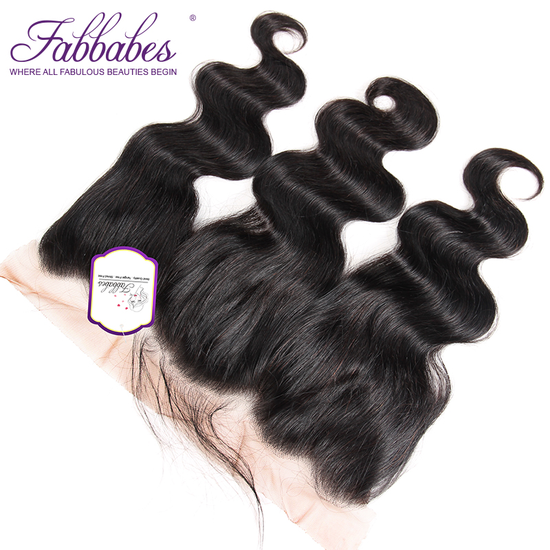 Fabbabes Free Part Lace Frontal Closures Peruvian Body Wave Remy Hair 13x4 With Baby Hair Swiss Lace Free Shipping