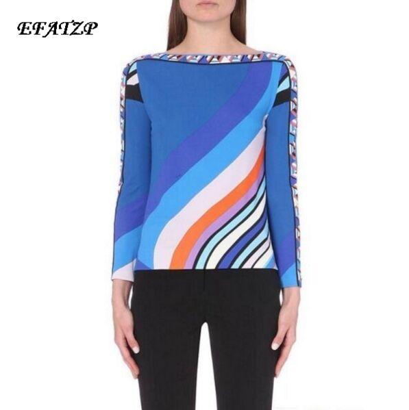 New 2016 spring High Quality Luxury Brands Designer Top Women s Long Sleeve Blue Geometry Printed