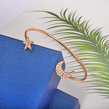 4pcs/set Women Bracelets Bohemian Pentagram Peach Hearts Stars Moon Open Bracelet for Women Fashion Apparel Jewelry Xmas Gifts 1