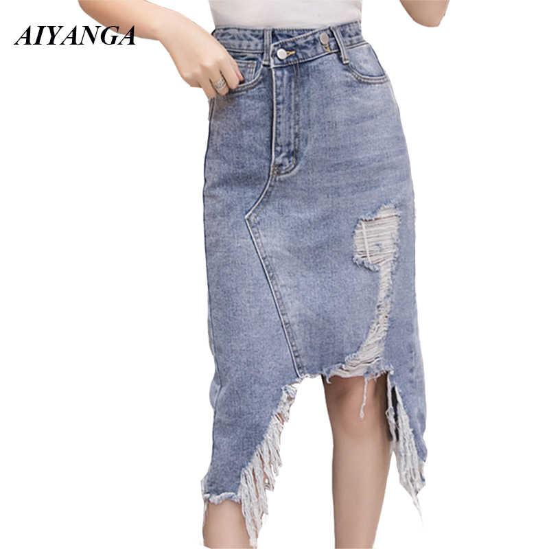 aff27efd5 New Women's Denim Skirts 2019 Spring Summer High Waist Skirts For Women  Tassel Fashion irregular Hole