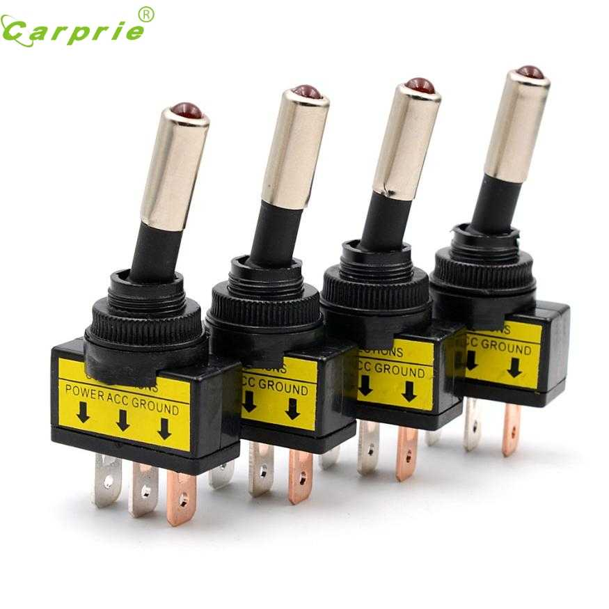 Baru 4Pcs 12V 20A Mobil Auto Lampu LED Merah Toggle Rocker Switch 3Pin SPST On/Off penjualan Jr22