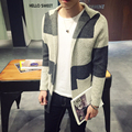 2016 New Arrival High Fashion Spring Autumn Men's Casual Loose Patchwork Long Cardigan Knitwear Sweater Gray/Red Free Shipping