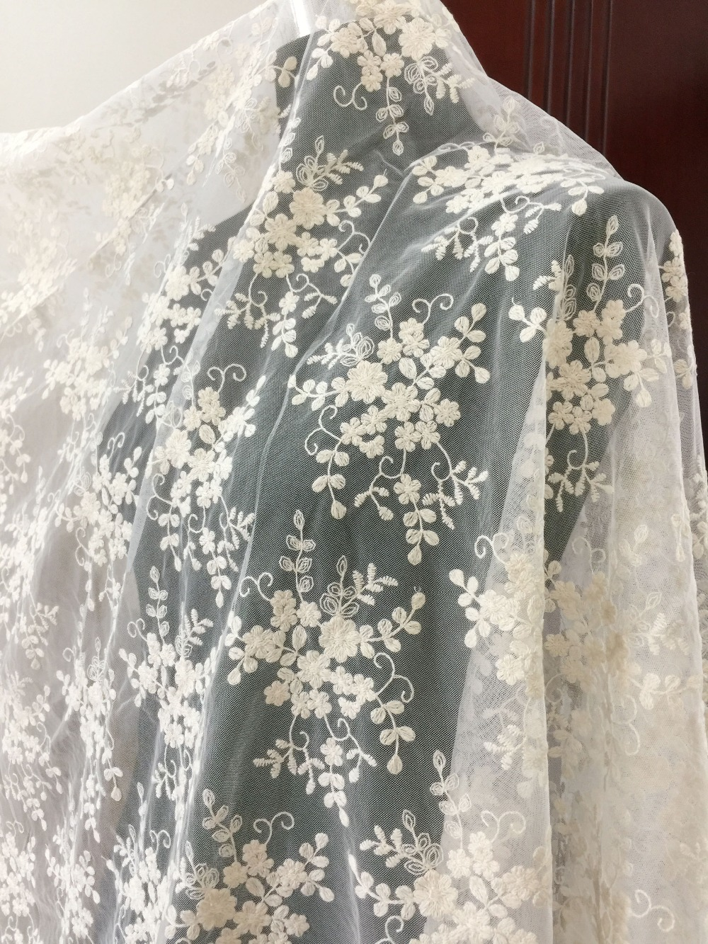 1 yard Beige daisy cotton lace fabric floral lace fabric lace fabric for boho wedding dress wedding gown lace fabric in Fabric from Home Garden