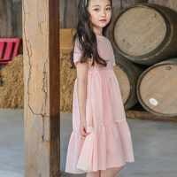 ฝ้ายฤดูร้อนสำหรับสาวสีขาว ruffles สีชมพูเด็กวัยหัดเดินชุดเด็กผู้หญิงเข่าความยาวชุดเสื้อผ้า 2018