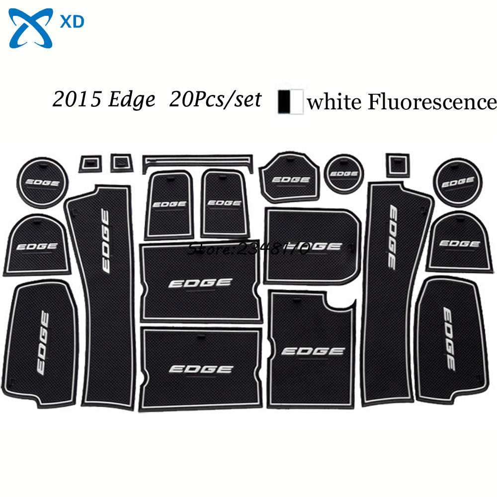 Newest car styling car accessories for ford edge 2015 cup mats auto car door pad rubber