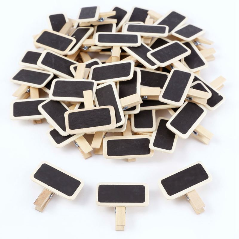 HOT-50 Mini Blackboard Wood Message Slate Rectangle Clip Clip Panel Card Memos Label Brand Price Place Number Table