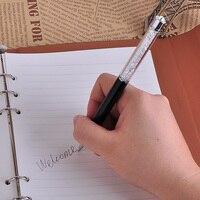 1 adet lüks siyah ve beyaz kristal Metal tükenmez kalem ile elmas Kawaii Caneta kalemler yazma için noel hediyesi