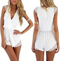 Summer Deep V-neck Spaghetti Off Shoulder Monos For Women Beach Short Jumpsuit White Jumpsuits 01S0058