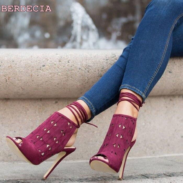 multicolor suede leather party sandals ankle Straps thin heel shoes lace up woman shoes hollow out stiletto heel sandals denim zipper hollow worn stiletto womens sandals