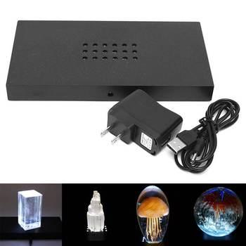 แสงสีขาว 18 หลอดไฟ LED ฐานพลาสติกวัสดุ 3D USB Night ฐานโคมไฟสำหรับทำงานศิลปะแก้วคริสตัลจอแสดงผล