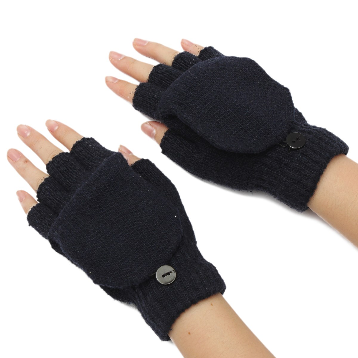 Fingerless gloves eso - 2016 Thermal Men Ladies Winter Half Finger Gloves Flip Fingerless Knitted Mittens Autumn Winter Woman Man Flanging Glove Mitten