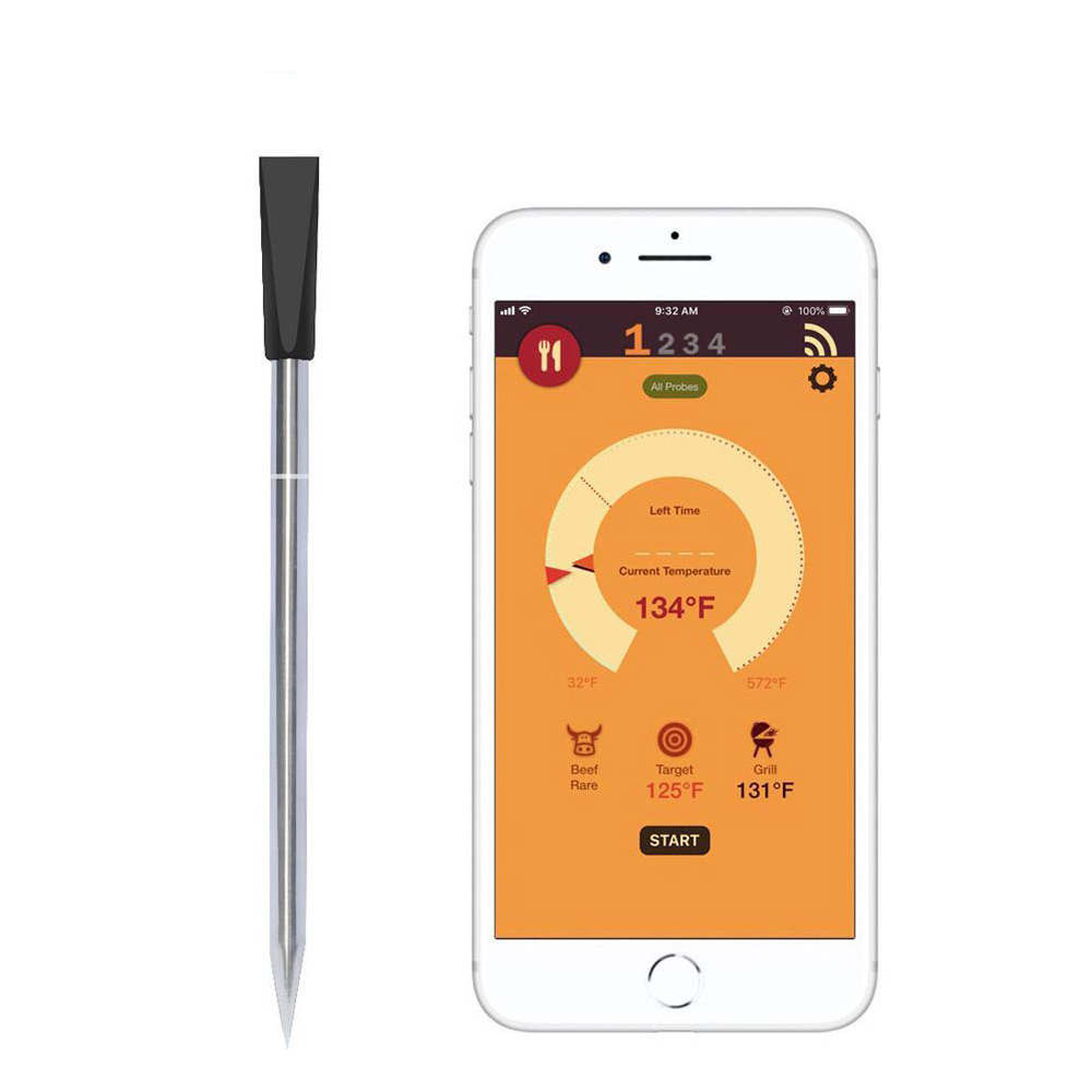 WiHoo Casa Inteligente Termômetro Digital CHURRASCO Termômetro de Cozinha Sem Fio Bluetooth Meat Alimentos Sonda Termômetro de Forno Churrasqueira