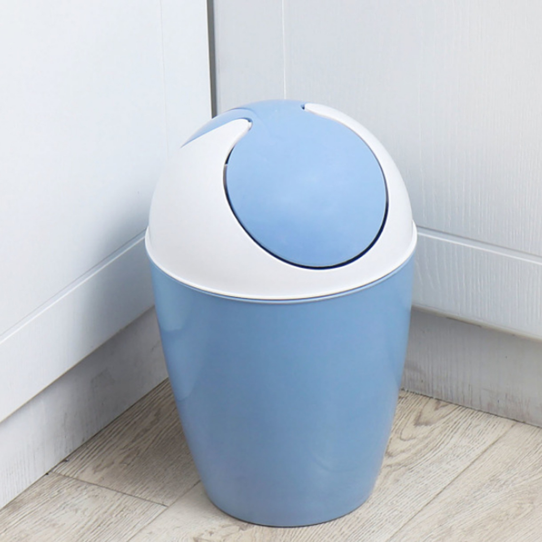 Round Rocking Cover Plastic Trash Can Kitchen Household Waste Bin ...