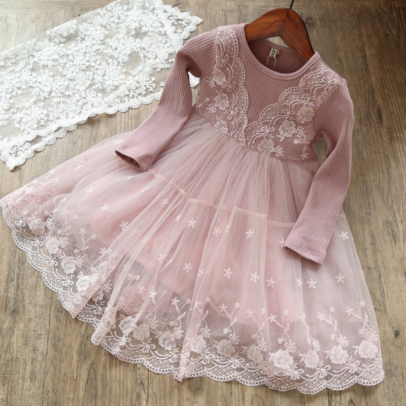 2017 Autumn Casual Long Sleeves Girls Dress lace Mesh winter Dresses For Girl clothing Cute sweet teenagers princess dress spring winter girls dress 2018 casual long sleeves lace mesh patchwork kids dresses for girl new year clothing princess dress