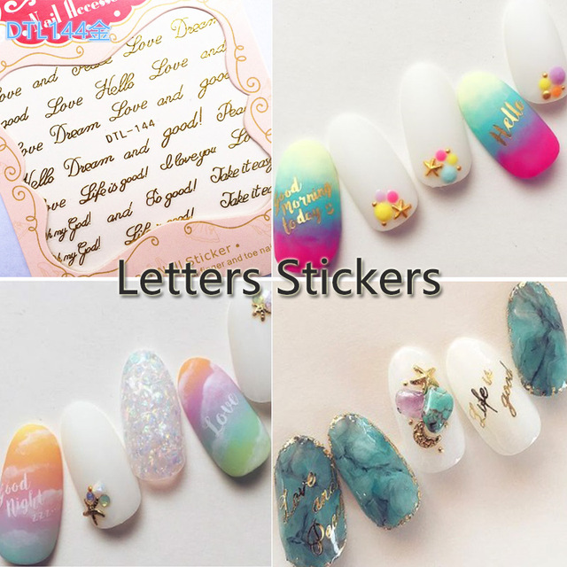 Nail Art 3D DIY Stickers Decal English Letters Styles of Nail Art ...