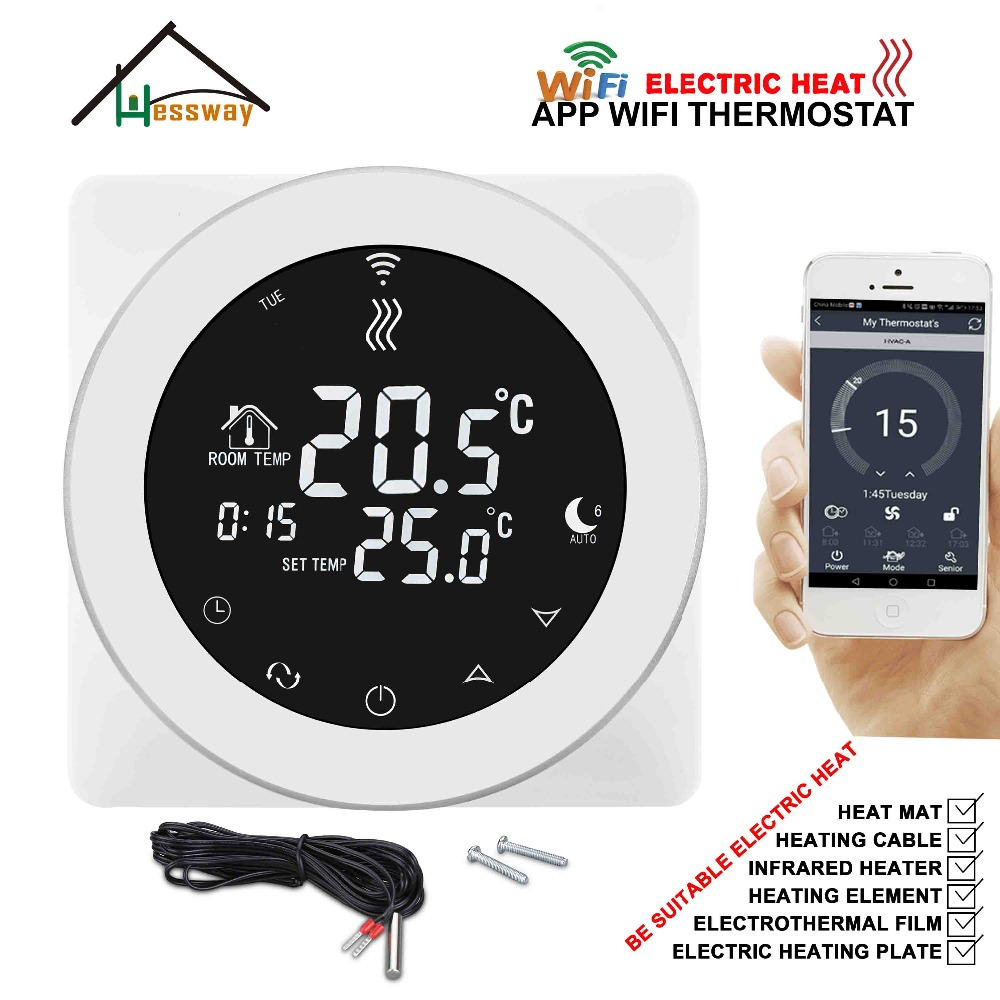 HESSWAY EU Programmable Double Sensor Wifi Wireless Heating Thermostat For Load 16A Heating Cable,heating Film