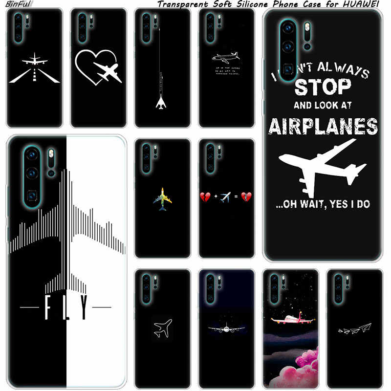 Hot aircraft Airplane fly patterned Silicone Phone Case for Huawei P30 P20 Pro P10 P9 P8 Lite 2017 P Smart Z Plus 2019 NOVA 3 3i