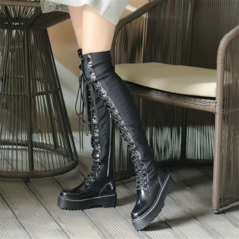 a0f3db21911 US $44.39 44% OFF|NAYIDUYUN Thigh High Boots Women Black Lace Up Over The  Knee Booties Winter Tall Shaft Punk Sneaker Oxfords Riding Creepers New-in  ...