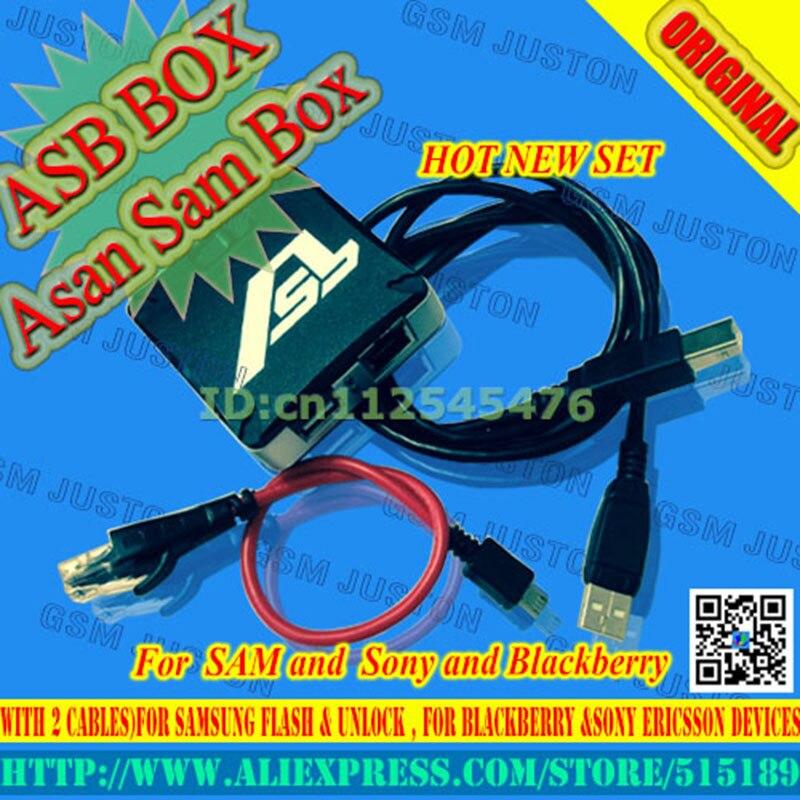 2017 plus récent vesion ASB boîte/AsanSam boîte pour samsung flash & déverrouillage, pour blackberry & Sony Ericsson (emballé avec 2 câbles)