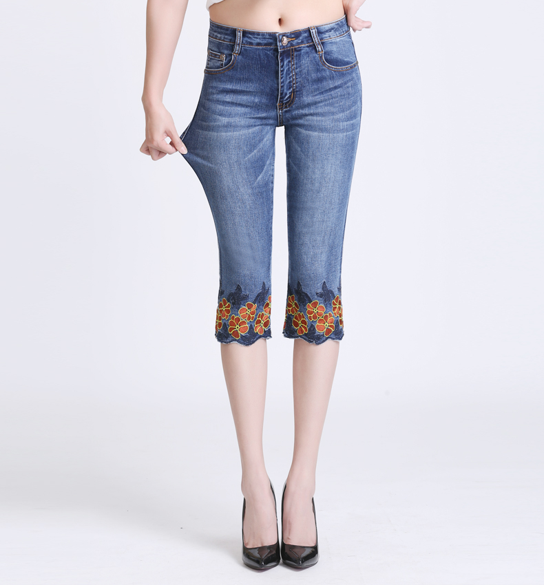 KSTUN Jeans Women High Waist Stretch Skinny Fit Shorts Knee Length Sexy Ladies Embroidery Floral Denim Pants Female Large Size 15