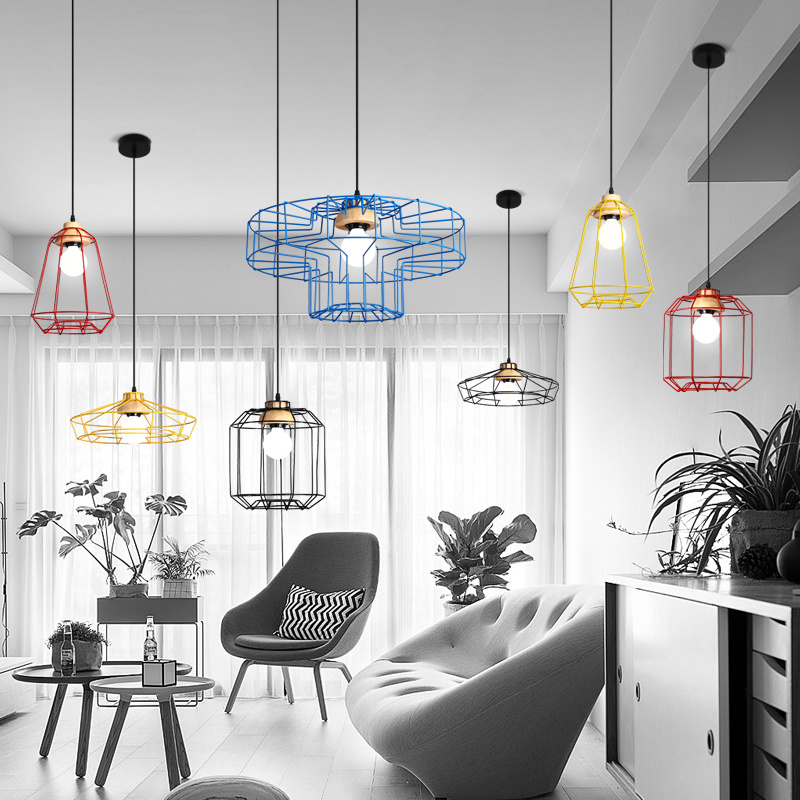black vintage industrial pendant light nordic retro lights iron lampshade loft edison lamp metal cage dining room Countryside цена