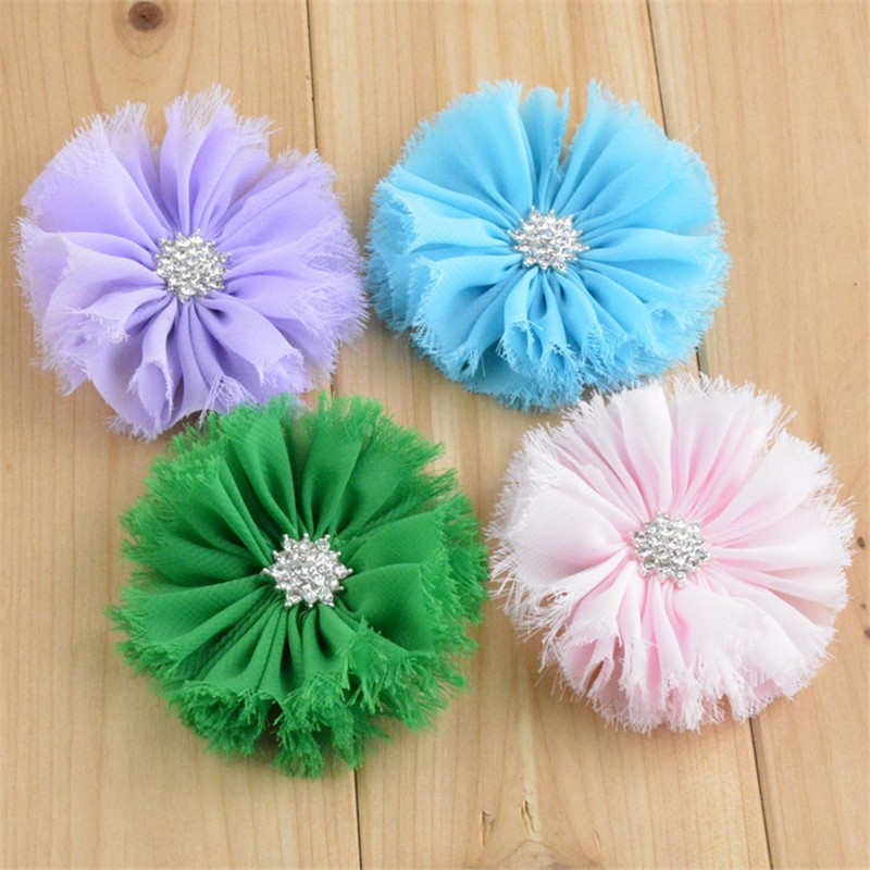 200pcs/lot 20 Color U Pick 2.7 Inch Shabby Chic Frayed Chiffon Fabric Flowers With Rhinestone Buttons Wholesale Supply FH41